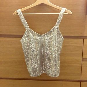 Zara silver sequin mid drift top